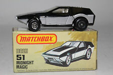 MATCHBOX SUPERFAST #51 MIDNIGHT MAGIC, SILVER & BLACK, SILVER BASE, BOXED