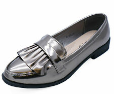 Ladies Pewter Slip-On Loafers Smart Casual Work Patent Comfy Shoes Sizes 3-8