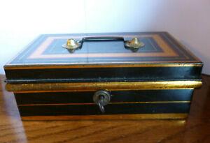 Vintage Black & Gold Metal Petty Cash Money Tin Box With Inside Tray & Key