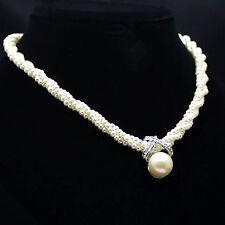 S Fashion Women Pendant Chain Choker Chunky Pearl Statement Bib Necklace Jewelry