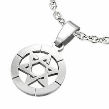 Stainless Steel Star of David Circle Pendant with chain TPB091