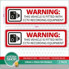 2 X CCTV Dash Cam Aufnahme Sticker Fahrzeug Lastwagen Hgv Taxi Bus Alarm