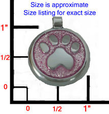 Thick DESIGNER Pink Glitter Paw Pet Dog ID Tag Charm- FREE ENGRAVING