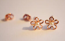 Shiny 14K/14ct Rose Gold Plated Cute Small Flower White Pearl Stud Earrings Gift