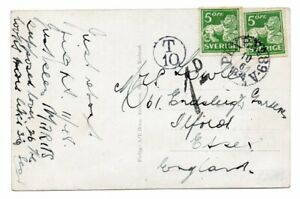 SWEDEN: Postcard to Great Britain 1934, postage due.
