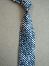 PERRY ELLIS Silk Necktie Gray Tartan Plaid Check Designer Tie