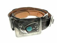 Navajo Sterling Silver Bezel Set Turquoise Hand Stamped Concho Fine Leather Belt