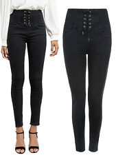 Ladies Ex New Look Black Jeans Corset High Waist Skinny Trouser Sze 4-18 RRP £28