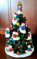 Snowman Decorated Christmas Tree Color-Changing Lighted Ornaments Table Figurine