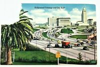 1950s True Vintage Postcard Hollywood California CA Freeway & City Hall AS IS