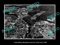 OLD POSTCARD SIZE PHOTO FEDERALSBURG MARYLAND, AERIAL VIEW OF THE TOWN c1940