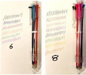 Multi-colour ball point pen 6 8 colours writing draw color biro 0.7mm UK