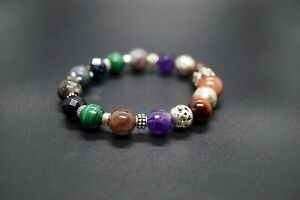Sterling Silver Multi-Gemstones Mix Bracelet 7'' Handmade Multi-color for Her
