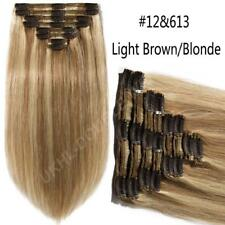 120g-220g Double Weft Clip In THICK REMY Human Hair Extension Full Head US U025
