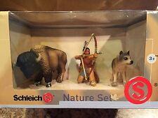 Schleich 40962 Sioux Indian Archer Bison Wolf 3pc Nature Set NRFB Retired RARE
