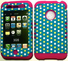 Yellow Dots on Pink Silicone Apple iPhone 3G 3GS Hybrid 2 in 1 Rubber Cover Case
