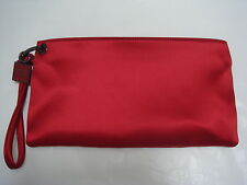 HERVE LEGER red satin clutch handbag with wrist strap CARRIED ONCE