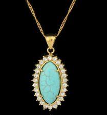 18K Gold Plated Turkey's Turquoise Rhinestone Pendant 24inch Necklace Jewellery