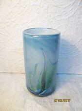 Vase  cylindrique contemporain  en pâte de verre signé