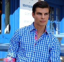 Lucky MAINE BLUE PINK PLAID Slim Casual Button Shirt jared-lang-fit  L