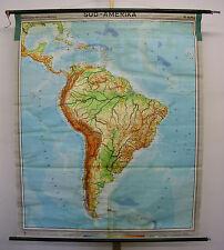 Schulwandkarte Schulkarte Südamerika Amerika Brasilien Karibik 1964 6Mio 148x178