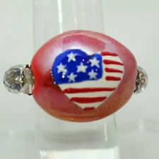 "AMERICAN FLAG 1"" Red Blue & White Heart Bead Stretch Band Cocktail Ring Gift"