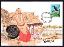 Native Dancer Dancing Numisbrief 1989 Apia Western Samoa Stamp Cover with Coin