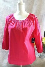 Basic Editions Womens Size S Pink Embossed top 100% Cotton 3/4 sleeve NWT