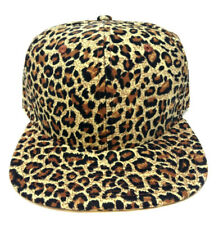 ANIMAL PRINT SNAPBACK HAT CAP FLAT BILL CHEETAH PATTERN LEOPARD FAUX BLACK BROWN
