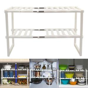 Under Kitchen Sink Shelf Storage Bathroom Cupboard Rack Cabinet Organiser Holder