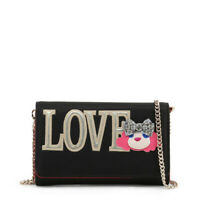 Love Moschino Clutch Bag Women's Black Gold Logo Small Removable Shoulder Strap