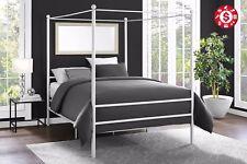 Metal Canopy Bed Frame Platform Queen Size Mattress Modern White Slat Base
