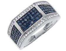 11mm Fashion Wedding Band Ring 1 ct 10k White Gold Mens Blue White Pave Diamond