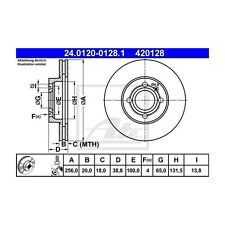 2 St. ATE 24.0120-0128.1 Disco freno VW GOLF III Variant GOLF III PASSAT