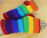 HAND-KNITTED Woollen Gloves Fleece Lined Mitten Wrist Warmer Ski Wool Glove