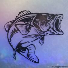 "BASS12"" large fish decal sticker WHITE car truck SUV die cut vinyl fishing"