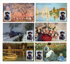 2010 CLAUDE MONET PAINTINGS ART 18 SOUVENIR SHEETS MNH UNPERFORATED