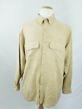 VanHeusen MenSoft Suede Long Sleeve Yellow Button Down Shirt Size XL17-17 1/2