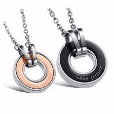 Men's 18K GoldGP Made with SWAROVSKI Element Couple Circle Pendant Necklace