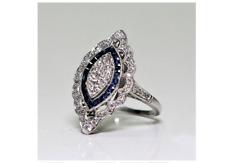 Antique Art Deco 925 Silver Blue Sapphire Diamond Marquis Cut Ring W6-111