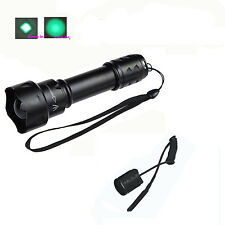 T20 Zoomable Len CREE R5 Green Light 1 Mode Hunting Flashlight Torch + Rat Tail