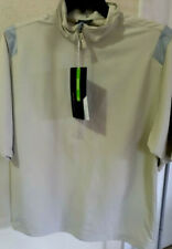 New Nike Golf Mens Half Zip Shirt Windproof Stretch S/Sleeve Size M Color Beige