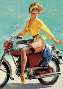 Retro Gil Elvgren Pinup Girl A2 size 42x59.4cm Canvas ART Print Poster Unframed