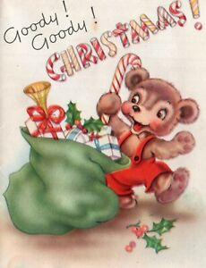 Anthropomorphic Bear Reaching Into Santa's Sack Vintage Child's Christmas Card