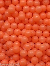 100 x 8mm Orange Glow in the Dark Beads + 20 Free 6mm Orange & Green Lumi Beads