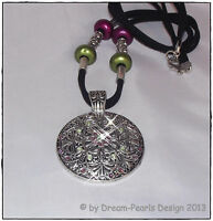 ♥ Halskette Amulett Kristall peridot grün amethyst lila silber schwarz ♥HK020