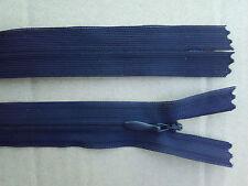 Lot 10 fermeture éclair invisible YKK 15 cm Bleu Marine