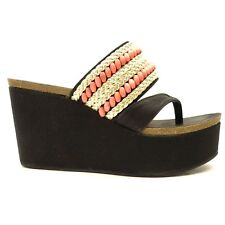 New Michael Antonio Womens Shoes Black Orange Wedge Open Toe Heels US Size 8
