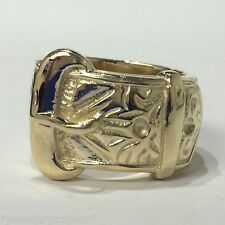 """SOLID HANDMADE 9CT GOLD ON JEWELLERS BRONZE SINGLE BUCKLE WEDDING RING """"SIZE S"""""""
