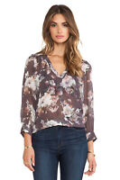 Joie Womens Aceline Silk Blouse Size Small S Gray Floral Sheer Top Shirt V-Neck